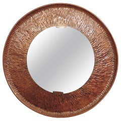 Hammered Round Copper Mirror