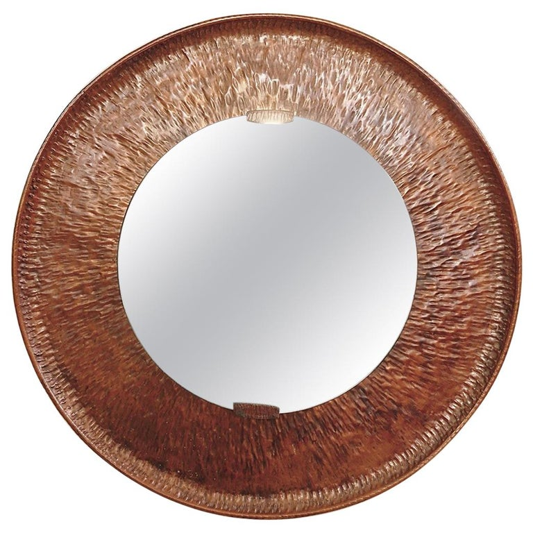 Hammered Round Copper Mirror For Sale