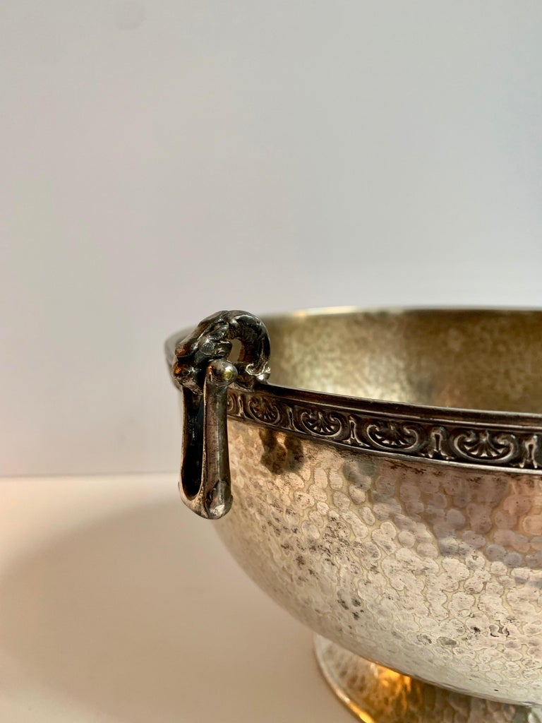 Mid-Century Modern Hammered Silver Bowl with Handle and Rim Detailing For Sale