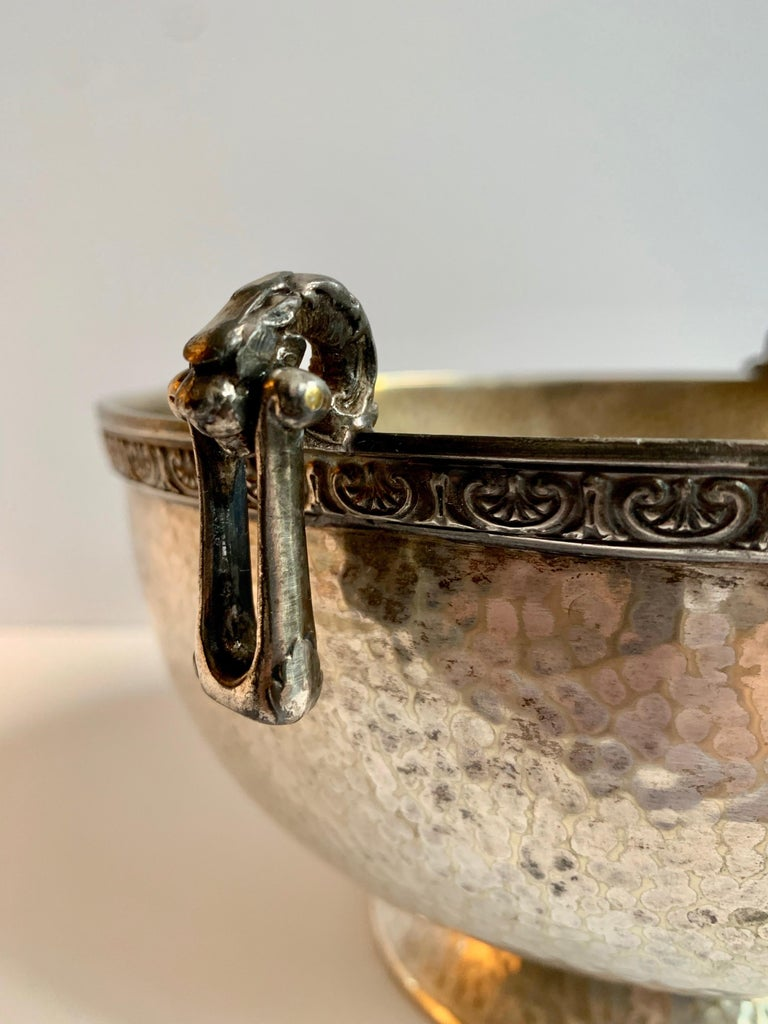 Hammered Silver Bowl with Handle and Rim Detailing In Good Condition For Sale In Los Angeles, CA