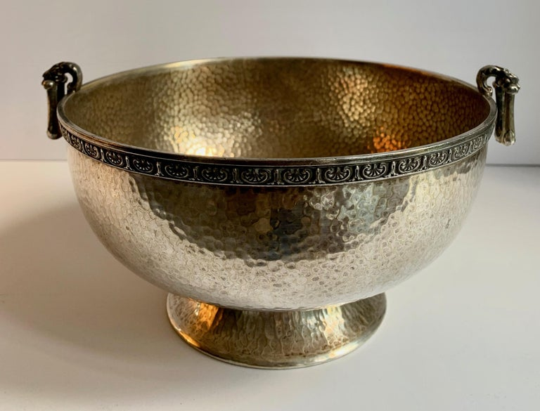 20th Century Hammered Silver Bowl with Handle and Rim Detailing For Sale