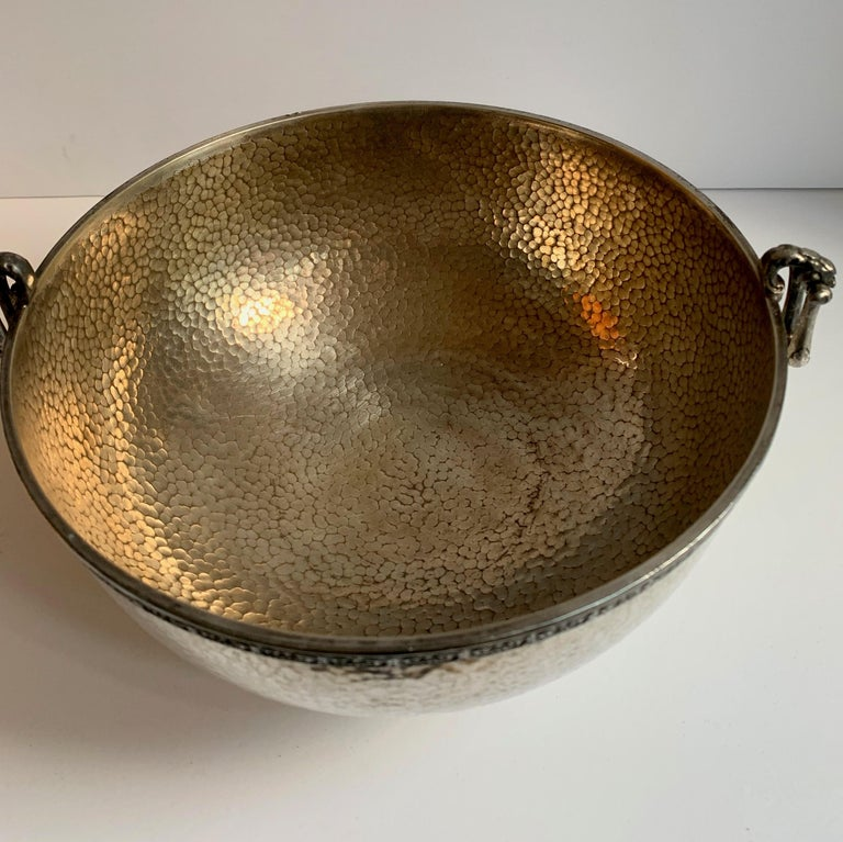 Silver Plate Hammered Silver Bowl with Handle and Rim Detailing For Sale