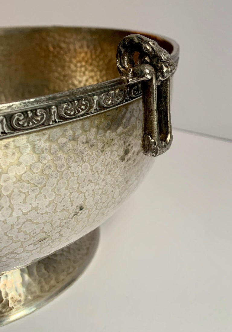 Hammered Silver Bowl with Handle and Rim Detailing For Sale 1