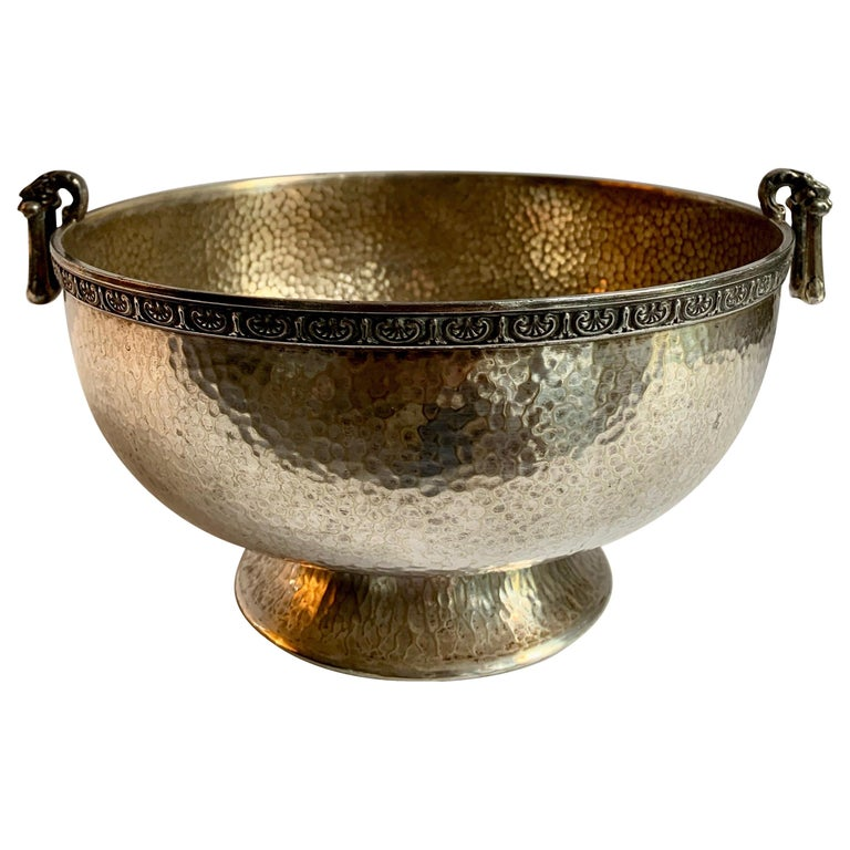 Hammered Silver Bowl with Handle and Rim Detailing For Sale