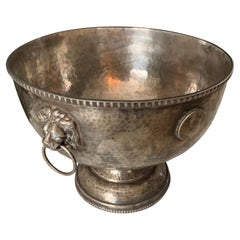 Hammered Silver Plate Bowl with Medallions and Lion Handles