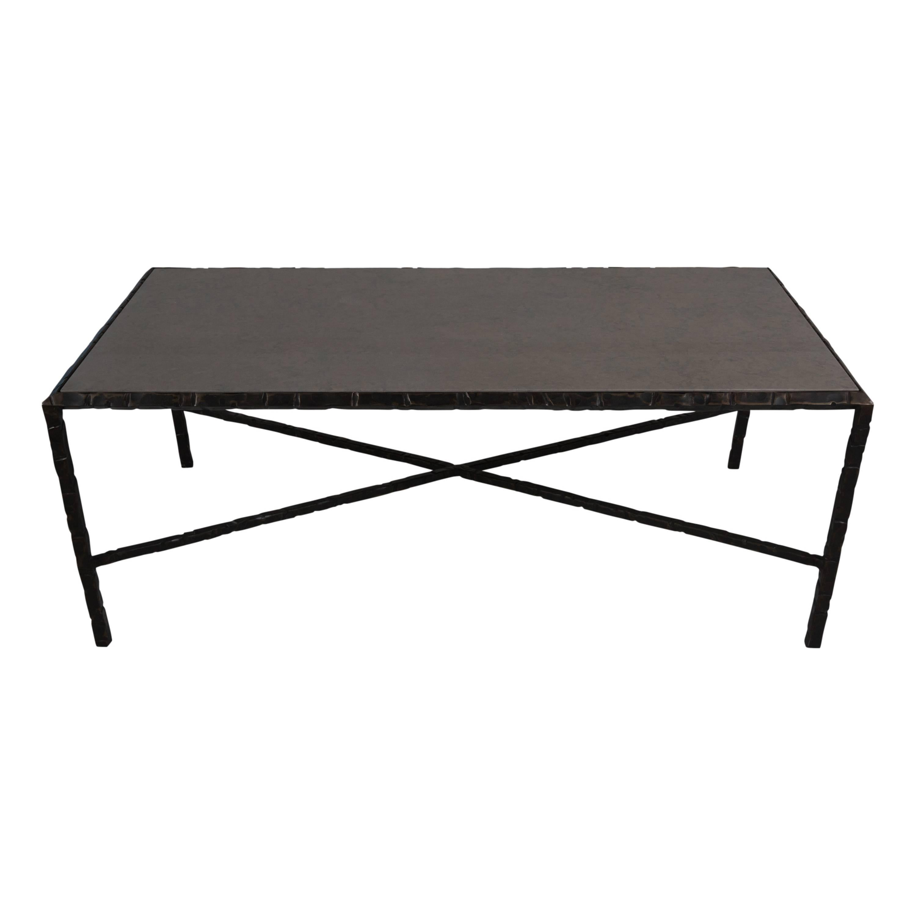 Hammered Steel Coffee Table, Bronze Patina For Sale