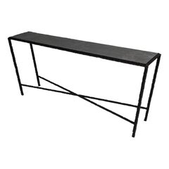 Hammered Steel Console Table, Bronze Patina