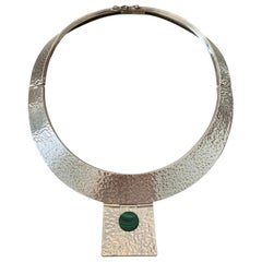 Hammered Sterling Cuff Choker Necklace with Malachite