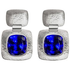 Hammered White Gold Tanzanite Earrings