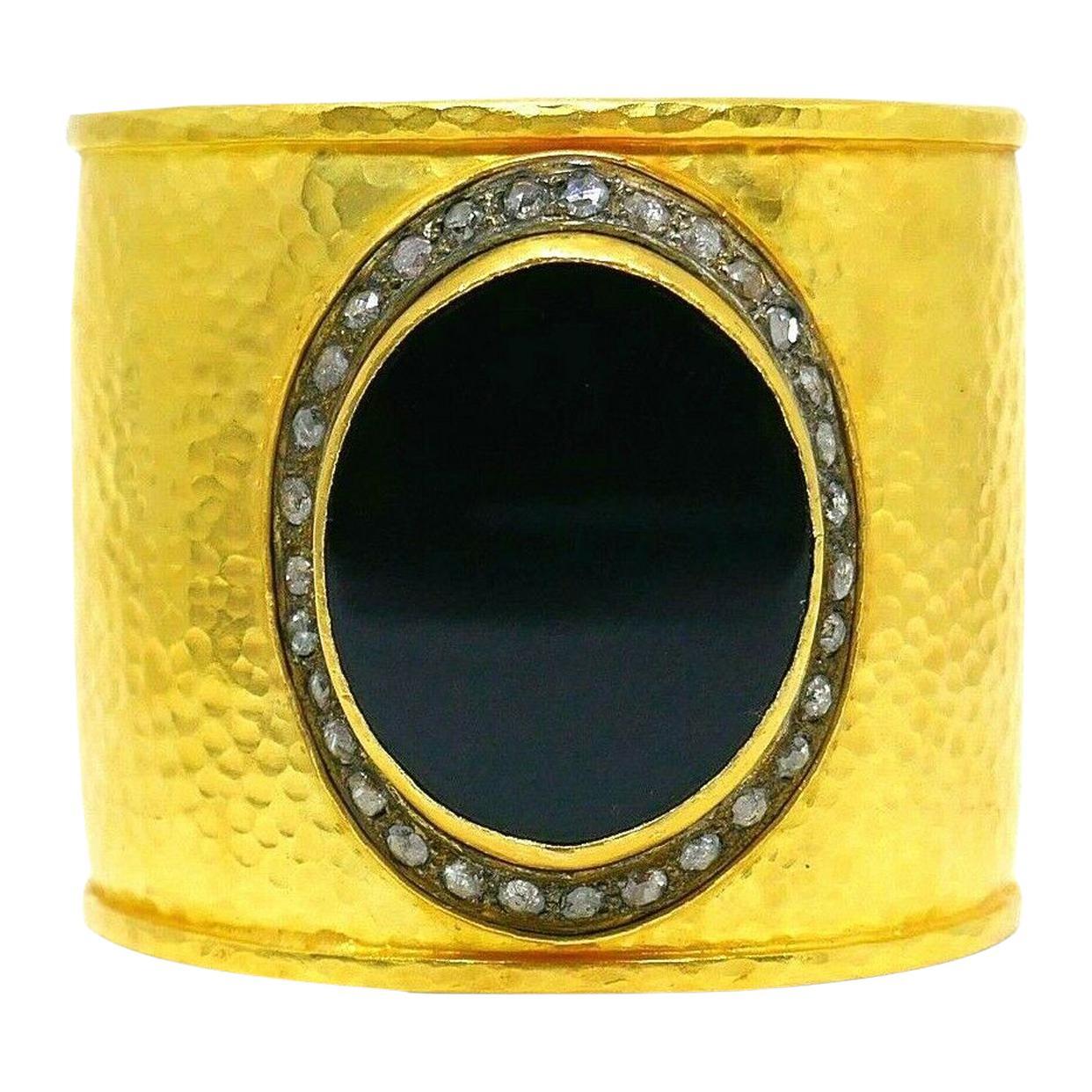 Hammered Yellow Gold Diamond Onyx Cuff Bracelet