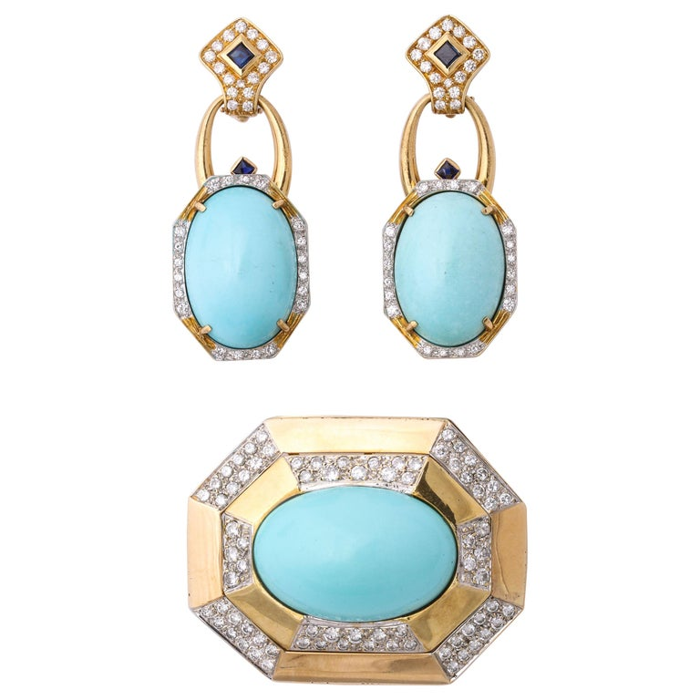 Hammerman Bros 1960 Turquoise Pendant and Earclips Sapphire, Diamond Gold Suite For Sale