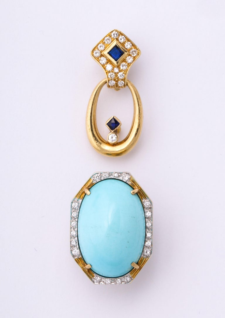 Hammerman Bros 1960 Turquoise Pendant and Earclips Sapphire, Diamond Gold Suite For Sale 6