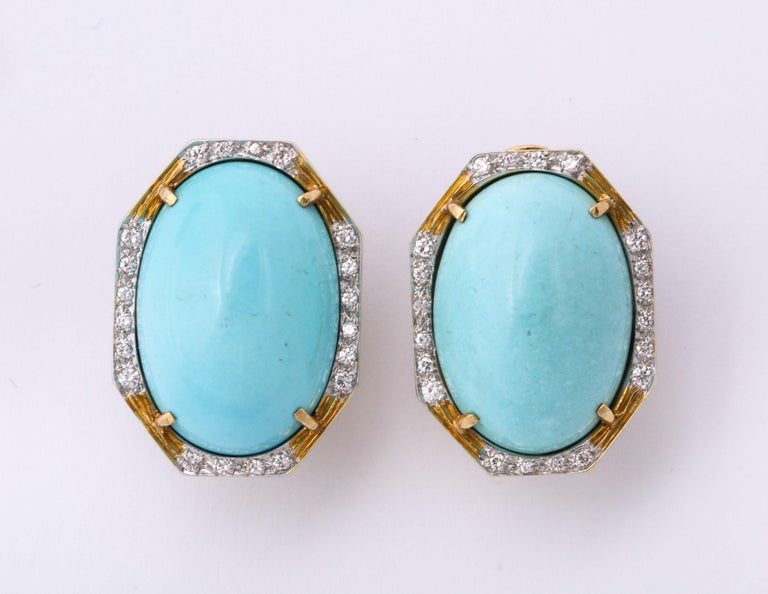 Hammerman Bros 1960 Turquoise Pendant and Earclips Sapphire, Diamond Gold Suite For Sale 7