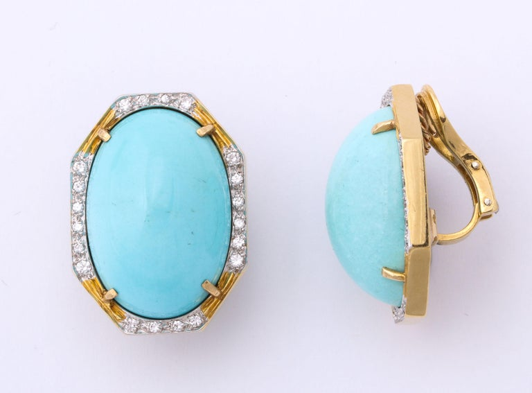 Hammerman Bros 1960 Turquoise Pendant and Earclips Sapphire, Diamond Gold Suite For Sale 8
