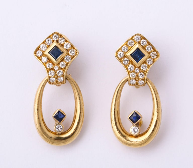 Hammerman Bros 1960 Turquoise Pendant and Earclips Sapphire, Diamond Gold Suite For Sale 9