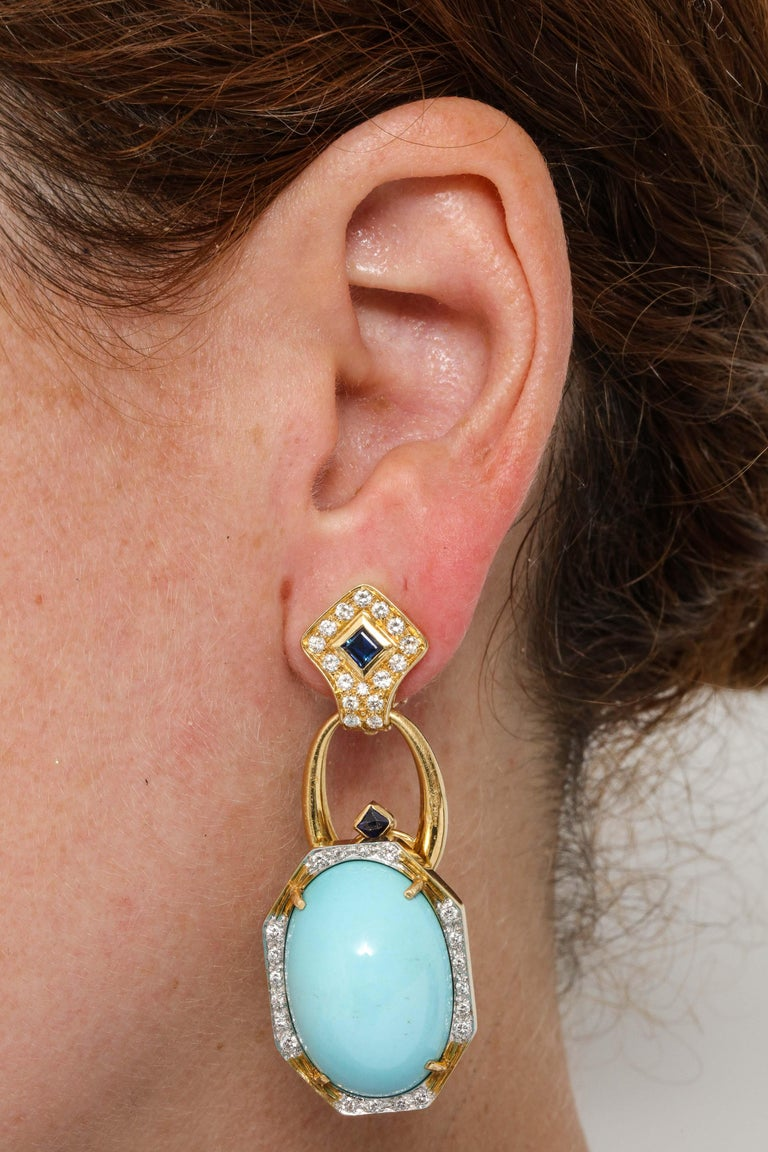 Hammerman Bros 1960 Turquoise Pendant and Earclips Sapphire, Diamond Gold Suite For Sale 11