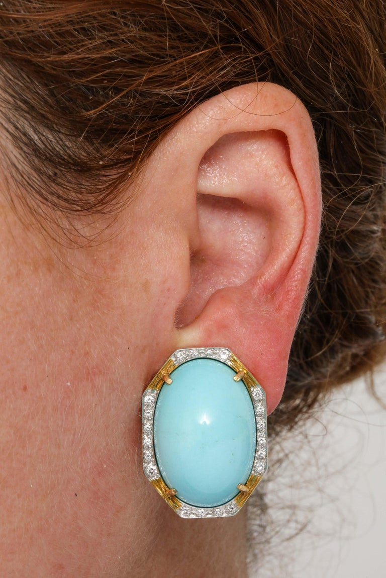 Hammerman Bros 1960 Turquoise Pendant and Earclips Sapphire, Diamond Gold Suite For Sale 12