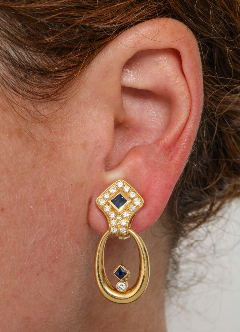 Hammerman Bros 1960 Turquoise Pendant and Earclips Sapphire, Diamond Gold Suite For Sale 13