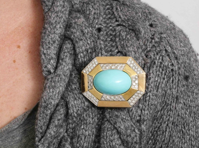 Hammerman Bros 1960 Turquoise Pendant and Earclips Sapphire, Diamond Gold Suite For Sale 14