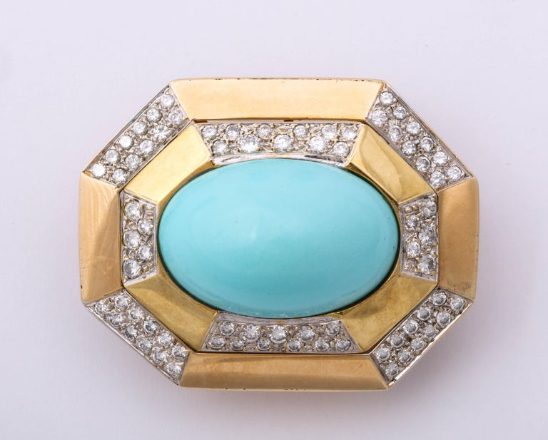 Hammerman Bros 1960 Turquoise Pendant and Earclips Sapphire, Diamond Gold Suite In Good Condition For Sale In New York, NY