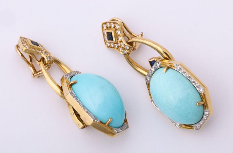 Women's Hammerman Bros 1960 Turquoise Pendant and Earclips Sapphire, Diamond Gold Suite For Sale