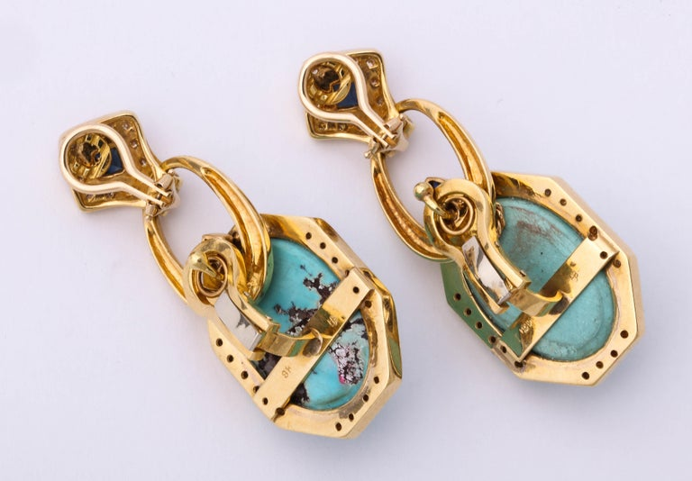 Hammerman Bros 1960 Turquoise Pendant and Earclips Sapphire, Diamond Gold Suite For Sale 1