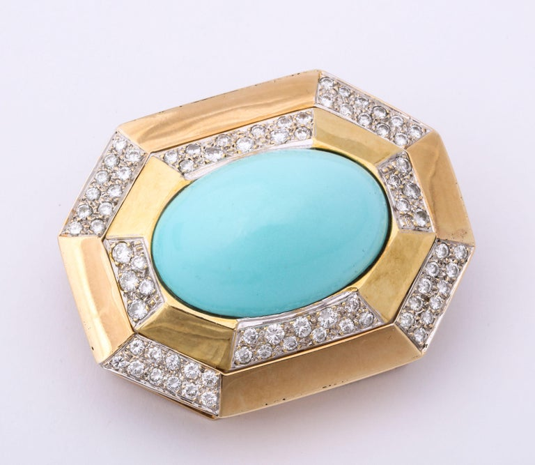 Hammerman Bros 1960 Turquoise Pendant and Earclips Sapphire, Diamond Gold Suite For Sale 2