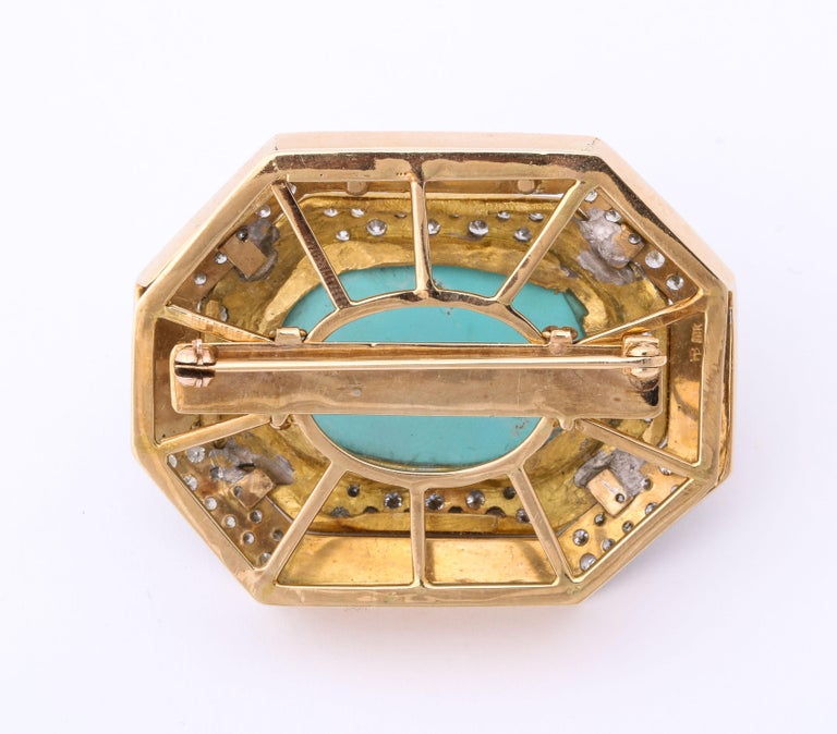 Hammerman Bros 1960 Turquoise Pendant and Earclips Sapphire, Diamond Gold Suite For Sale 3