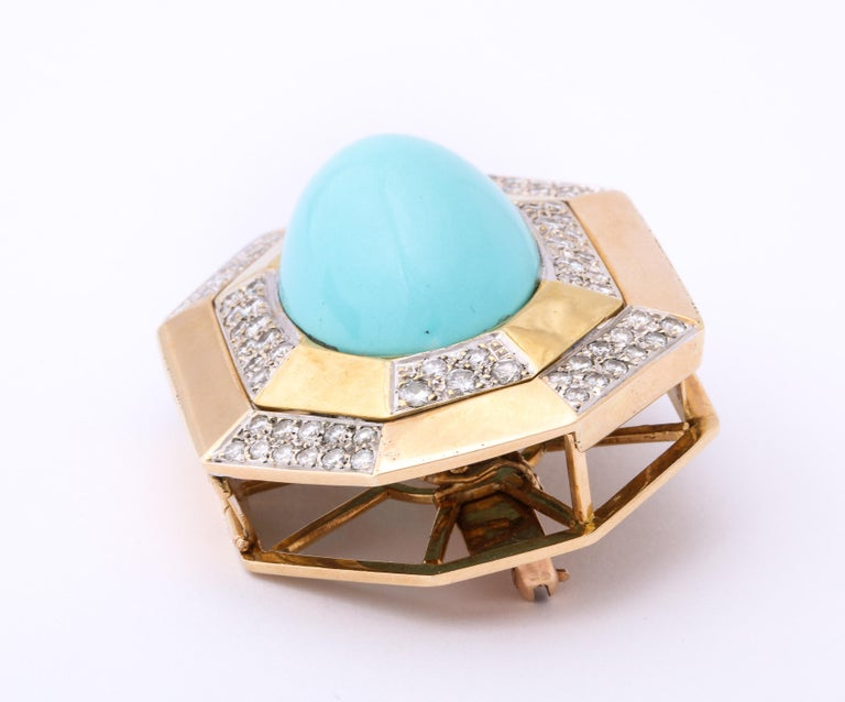 Hammerman Bros 1960 Turquoise Pendant and Earclips Sapphire, Diamond Gold Suite For Sale 4