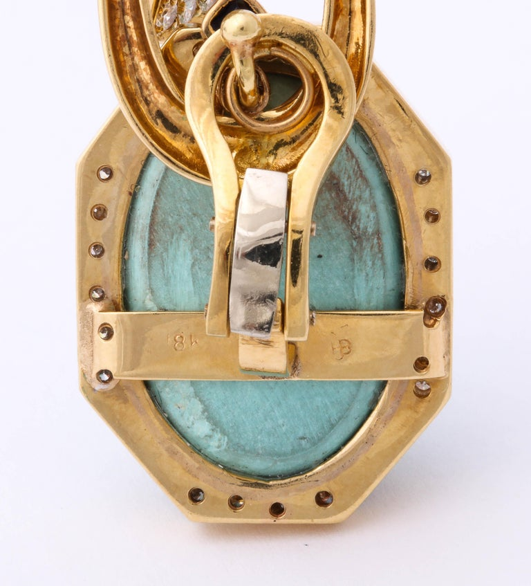 Hammerman Bros 1960 Turquoise Pendant and Earclips Sapphire, Diamond Gold Suite For Sale 5