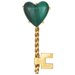 Hammerman Bros Malachite Heart Key Brooch Vintage 18 Karat Yellow Gold Jewelry
