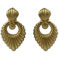Hammerman Bros. Ribbed Gold Earrings