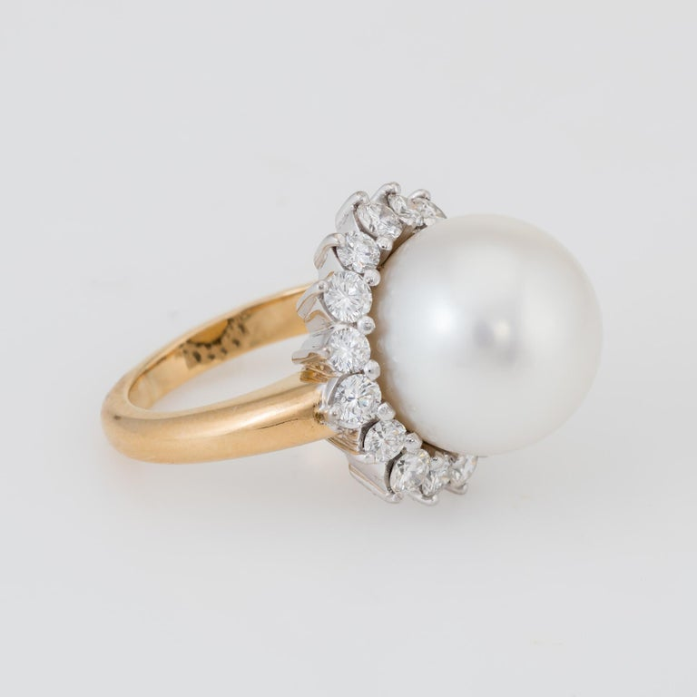 Hammerman Bros South Sea Pearl Diamond Ring  In Excellent Condition In West Hills, CA