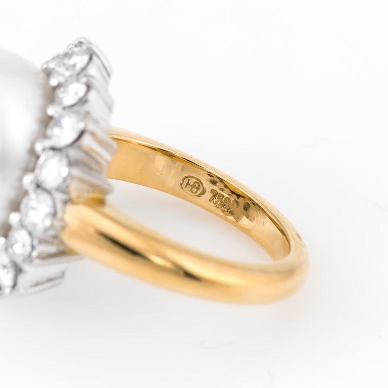 Hammerman Bros South Sea Pearl Diamond Ring  3