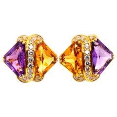 Hammerman Bros Trillion Amethyst & Citrine, and Round Brilliant Diamond Earrings