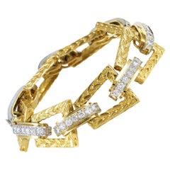 Hammerman Brother 18 Karat White and Yellow Gold 4.75 ct Diamond Link Bracelet