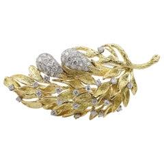 Hammerman Brothers 18 Karat and Platinum 2.65 Carat Diamond Leaf Brooch Pin