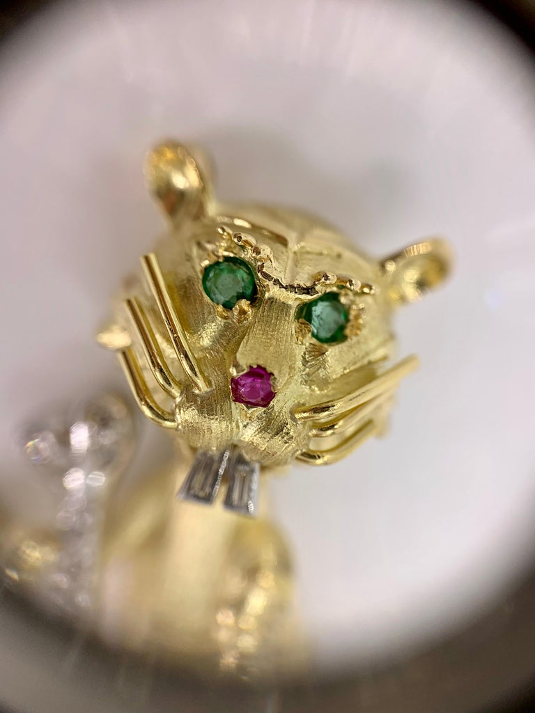 Hammerman Brothers 18 Karat Diamond, Emerald and Ruby Wild Cat Brooch For Sale 2