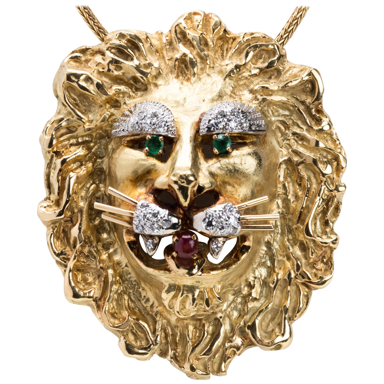 Hammerman Brothers 18 Karat Gold Lion Head Pendant/Brooch