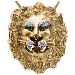 Hammerman Brothers 18 Karat Gold Lion Head Pendant/Brooch