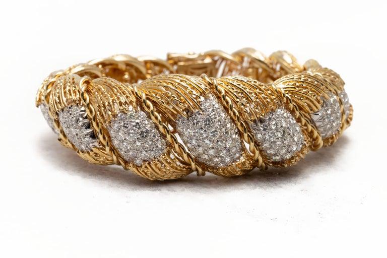 Modern Hammerman Brothers 6.50 Carat Diamond Semi-Flexible Bracelet in Yellow Gold For Sale