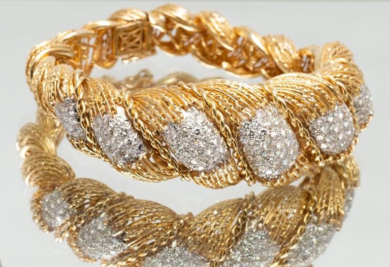 Women's or Men's Hammerman Brothers 6.50 Carat Diamond Semi-Flexible Bracelet in Yellow Gold For Sale