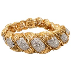 Hammerman Brothers 6.50 Carat Diamond Semi-Flexible Bracelet in Yellow Gold