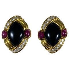 Hammerman Brothers Black Onyx and Ruby Earrings