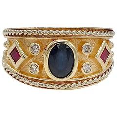 Hammerman Brothers Blue Sapphire Diamond and Ruby 14 Karat Yellow Gold Band Ring