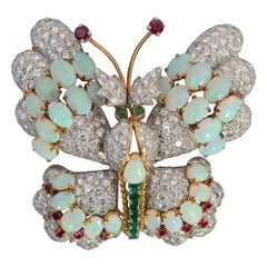 Hammerman Brothers Butterfly Brooch of Diamonds, Opals, Emeralds and Rubies