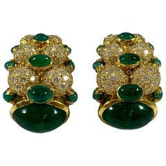Hammerman Brothers Cabochon Emerald and Diamond Earrings