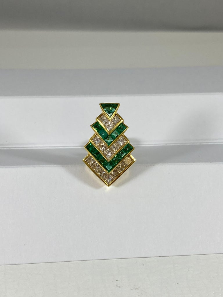 Emerald Cut Hammerman Brothers Chevron Emerald and Diamond Earrings For Sale