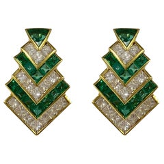 Hammerman Brothers Chevron Emerald and Diamond Earrings