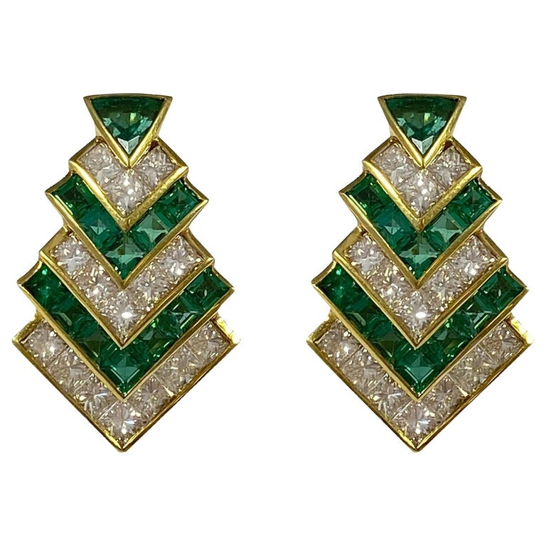 Hammerman Brothers Chevron Emerald and Diamond Earrings For Sale